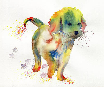 Painting - Colorful Puppy Watercolor - Little Friend by Melly Terpening