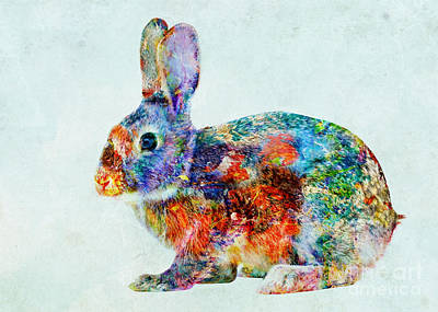 Mixed Media - Colorful Rabbit Art by Olga Hamilton
