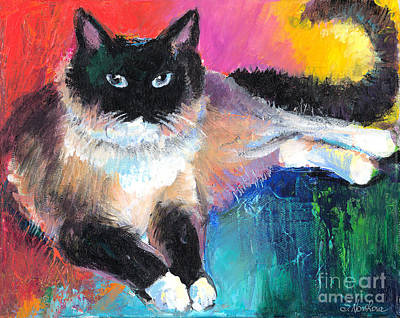 Austin Artist Painting - Colorful Ragdoll Cat Painting by Svetlana Novikova