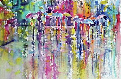 Umbrella Painting - Colorful Rain by Kovacs Anna Brigitta