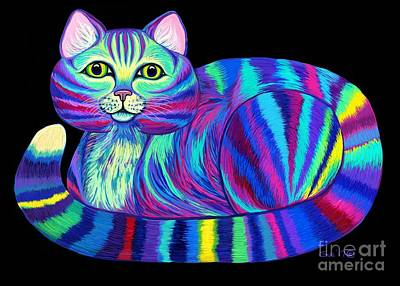 Digital Art - Colorful Rainbow Kitty Cat by Nick Gustafson