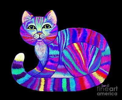 Digital Art - Colorful Rainbow Kitty by Nick Gustafson