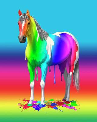 Pinto Horse Painting - Colorful Rainbow Paint Horse by Crista Forest