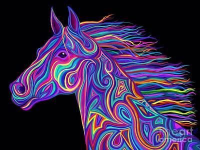 Animals Drawings - Colorful Rainbow Stallion  by Nick Gustafson