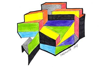 Drawing - Colorful Rectanges by Paul Meinerth