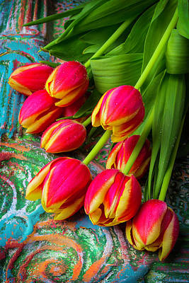 Red Beads Photograph - Colorful Red And Yellow Tulips by Garry Gay