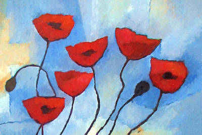 Poppies Art Painting - Colorful Red Poppies by Lutz Baar