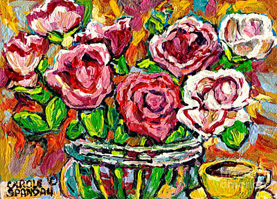 Painting - Colorful Red Roses In Glass Vase With Cup Original Painting By Carole Spandau by Carole Spandau