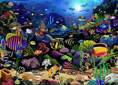 Caribbean Sea Digital Art - Colorful Reef by Gerald Newton