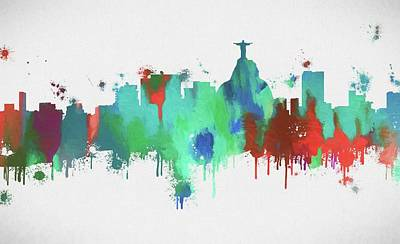 Olympics Mixed Media - Colorful Rio De Janeiro Skyline by Dan Sproul