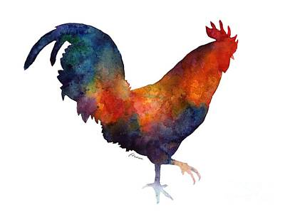 Bird Watercolor Painting - Colorful Rooster by Hailey E Herrera