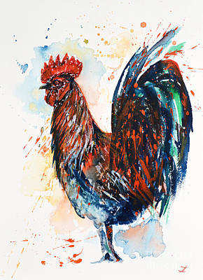 Painting - Colorful Rooster by Zaira Dzhaubaeva