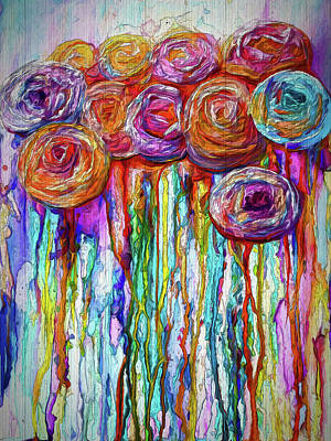 Digital Art - Colorful Roses Design  by OLena Art Brand