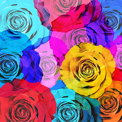 Vintage Flowers Photograph - Colorful Roses Design by Setsiri Silapasuwanchai