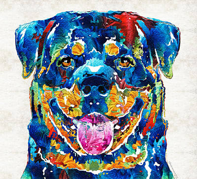 Colorful Dog Painting - Colorful Rottie Art - Rottweiler By Sharon Cummings by Sharon Cummings