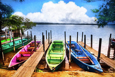 Photograph - Colorful Rowboats At The Lake Oil Painting by Debra and Dave Vanderlaan