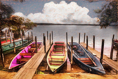 Photograph - Colorful Rowboats At The Lake Pastels Oil Painting  by Debra and Dave Vanderlaan