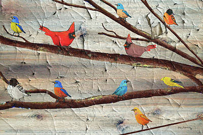 Parakeet Mixed Media - Colorful Rustic Birds Crackle by Ken Figurski
