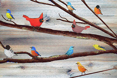 Parakeet Mixed Media - Colorful Rustic Songbirds  by Ken Figurski
