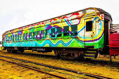 Photograph - Colorful Rusting Passenger Car by Garry Gay