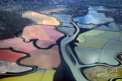 Colorful Salt Evaporation Ponds In San Franccisco Bay Area Art Print