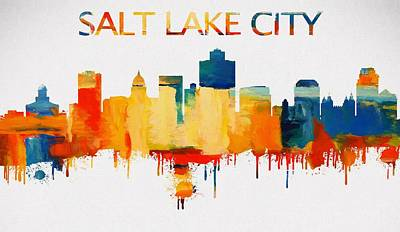 Painting - Colorful Salt Lake City Skyline Silhouette by Dan Sproul