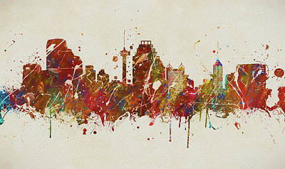 Painting - Colorful San Antonio Skyline by Dan Sproul