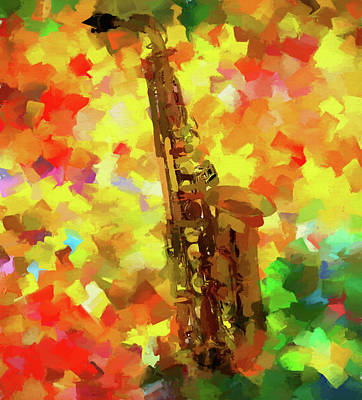 Painting - Colorful Saxophone by Dan Sproul
