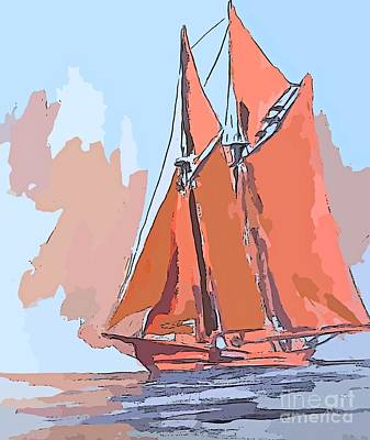Bluenose Painting - Colorful Schooner Abstract by John Malone