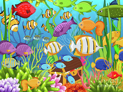 Digital Art - Colorful Sea Life-a by Jean Plout