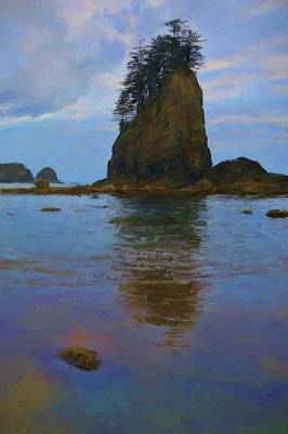 Olympic National Park Painting - Colorful Sea Stack Reflection by Dan Sproul