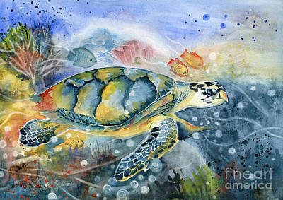 Seaturtle Painting - Colorful Sea Turtle Art by Melly Terpening
