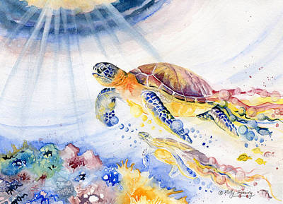Save Water Painting - Colorful Sea Turtle - Going Up by Melly Terpening