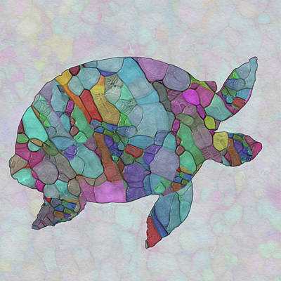 Ocean. Stained Glass Ocean Painting - Colorful Sea Turtle by Jack Zulli