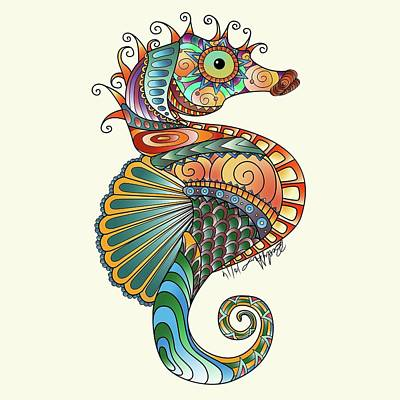 Drawing - Colorful Seahorse by Becky Herrera