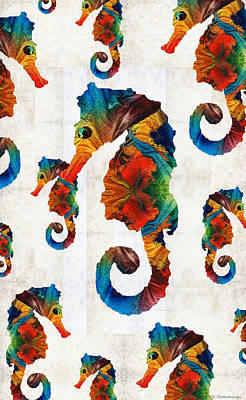 Colorful Tropical Fish Painting - Colorful Seahorse Collage Art By Sharon Cummings by Sharon Cummings