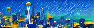 Seattle Seahawks Painting - Colorful Seattle Skyline Panorama by Dan Sproul