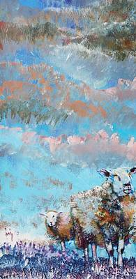 Painting - Colorful Sheep And Sky Art - Narrow Painting by Mike Jory