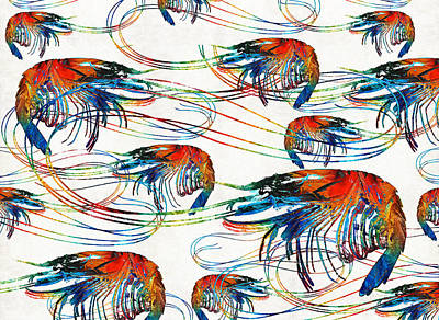Crustacean Painting - Colorful Shrimp Collage Art By Sharon Cummings by Sharon Cummings