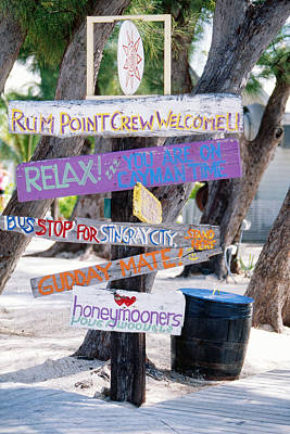 Colorful Signs At Rum Point Grand Cayman Island Art Print by George Oze