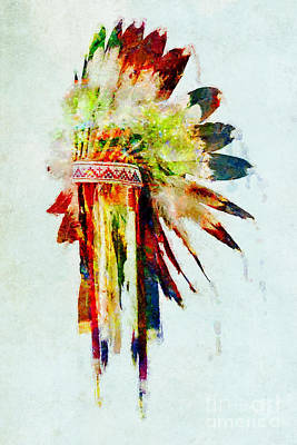 Mixed Media - Colorful Sioux Headdress Art by Olga Hamilton