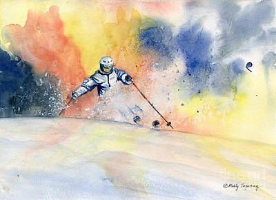 Skiing Action Painting - Colorful Skiing Art 2 by Melly Terpening