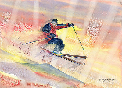 Skiing Action Painting - Colorful Skiing Art by Melly Terpening