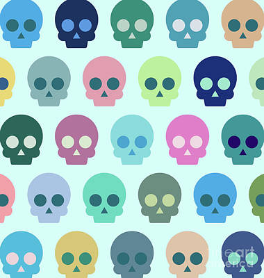 The Digital Art - Colorful Skull Cute Pattern by Amir Faysal