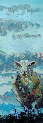 Sheep Painting - Colorful Sky And Sheep - Narrow Painting by Mike Jory