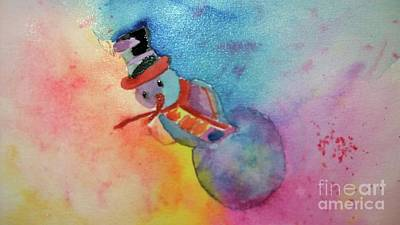 Painting - Colorful Snowman by Eunice Miller