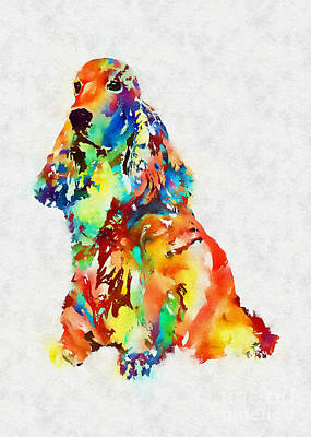 Mixed Media - Colorful Spaniel by Olga Hamilton