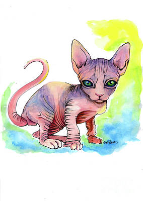 Painting - Colorful Sphynx by Akiko Okabe