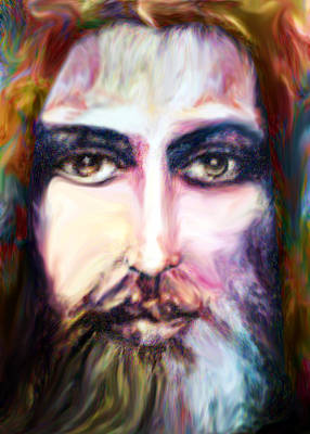 Jesus Face Digital Art - Colorful Spirit by Munir Alawi
