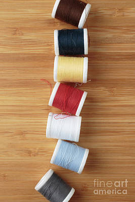 Photograph - Colorful Spools Of Thread by Edward Fielding